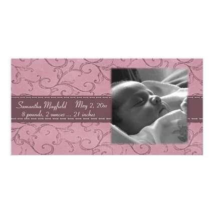 Mauve Swirl Girl Announcement Photo Card