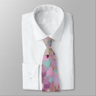 Mauve Taupe Pink Purple Aqua Confetti Hearts Neck Tie