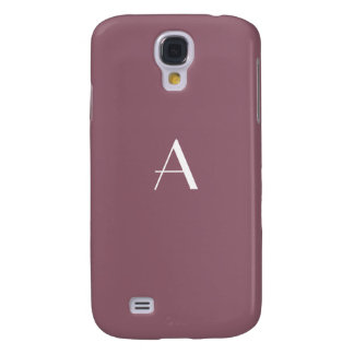 Mauve Taupe with White Monogram Galaxy S4 Covers