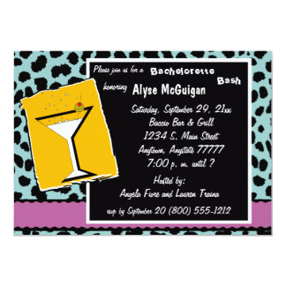 Mauve Teal and Orange Leopard Party Invitation
