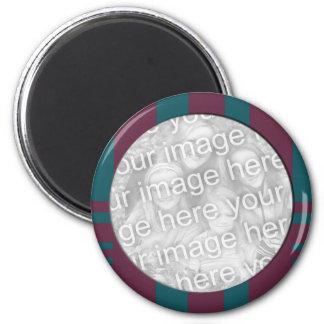 mauve teal stripes photo frame magnet