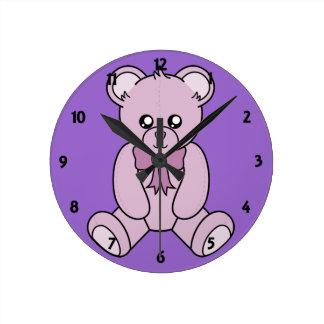 Mauve Teddy Bear Childrens Learning Wall Clock