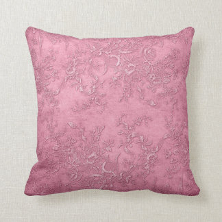 Mauve Texture Vines Floral Pink Vintage Victorian Throw Pillow