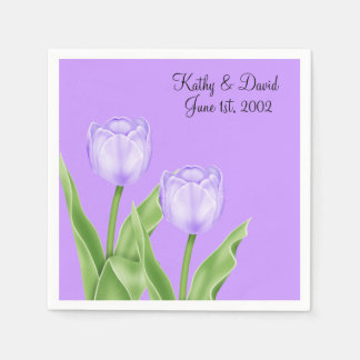 Mauve Tulips Wedding Paper Napkin