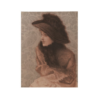 Mauve Victorian Lady With Damask Background Wood Poster