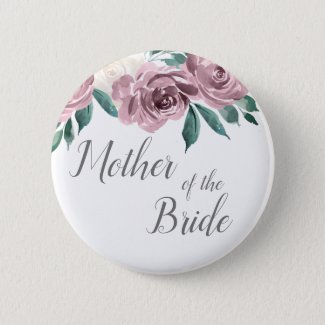 Mauve Watercolor Roses Floral Mother of the Bride Button