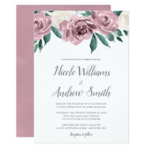 Mauve Watercolor Roses Floral Wedding Invitations