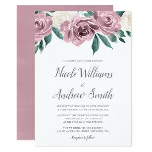 Mauve Watercolor Roses Fl Wedding Invitations