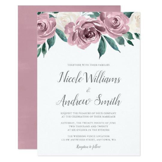 mauve watercolor roses floral wedding invitations