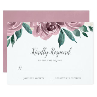 Mauve Watercolor Roses Floral Wedding RSVP Card