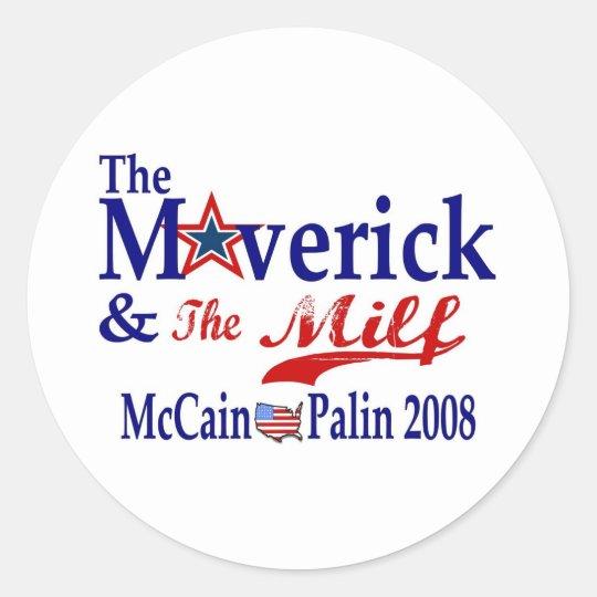 maverick and milf classic round sticker
