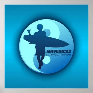 Mavericks -Half Moon Bay (Blue) Print