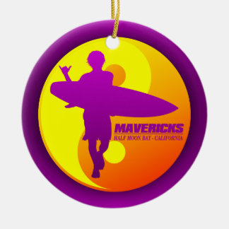 Mavericks -Half Moon Bay (Sunburst) Christmas Ornaments