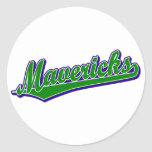 Mavericks in Green and Blue Round Stickers