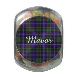 Mavor clan Plaid Scottish kilt tartan Glass Candy Jars