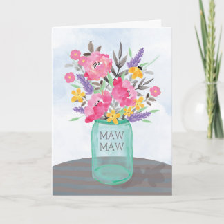 Maw Maw Mother's Day Jar Vase with Flowers Card