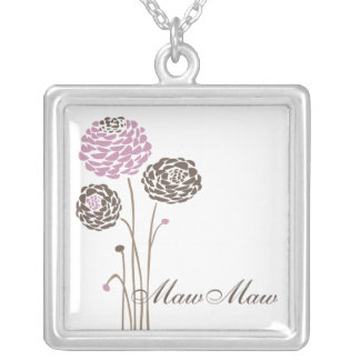 MawMaw Necklace Stylish Dahlia Flowers