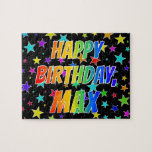 "[ Thumbnail: ""Max"" First Name, Fun ""Happy Birthday"" Jigsaw Puzzle ]"
