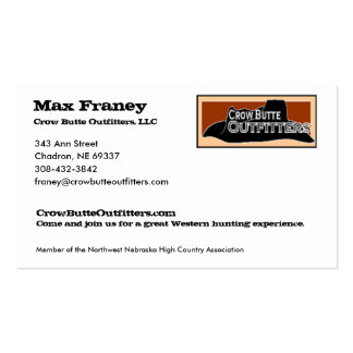Max Franey, Crow Butte Outfitters, LLC Business Card