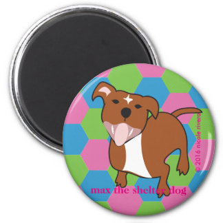 Max | Hexagon Floppy Ears, 2¼ Inch Round Magnet