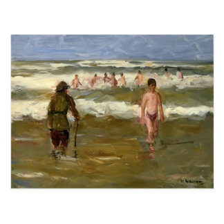 Max Liebermann- Boys Bathing with Beach Warden Postcard