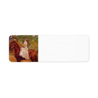 Max Slevogt- Lady in White Dress on Horseback Return Address Label