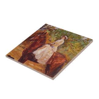 Max Slevogt- Lady in White Dress on Horseback Ceramic Tile