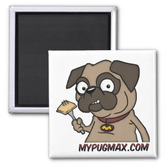 Max The Pug 2 Inch Square Magnet