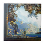 """Maxfield Parrish Daybreak Ceramic Tile<br><div class=""""desc"""">&quot;Daybreak&quot; Maxfield Parrish, 1922, , shows a dreamy scene of a young woman lying between two columns with a lapis blue background landscape. Standing over her is a mysterious androgynous spirit. This vintage print was one of the most popular of its time. Commissioned by the art publishing firm, House of...</div>"""