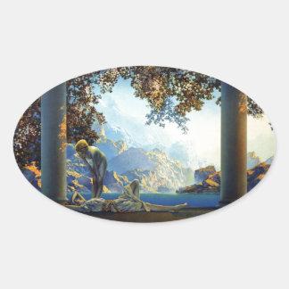 Maxfield Parrish Daybreak Oval Sticker