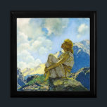 "Maxfield Parrish, Morning - Keepsake/Gift Box<br><div class=""desc"">A perfect gift! This Deluxe Ebony Keepsake/Jewelry Box features a large 6&quot; ceramic tile inlay with Maxfield Parrish&#39;s wonderful painting, Morning. This artwork is one of the very best examples we&#39;ve seen from the Art Deco movement. TIP: For a custom gift set, look for matching or similar items in the...</div>"