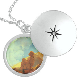 Maxfield Parrish Morning (Spring) Vintage Art Round Locket Necklace