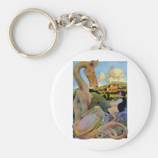Maxfield Parrish s Conversation with a Dragon Keychains