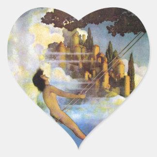 Maxfield Parrish The Dinky Bird Vintage Book Heart Sticker