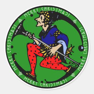 Maxfield Parrish-y Christmas Elf Classic Round Sticker