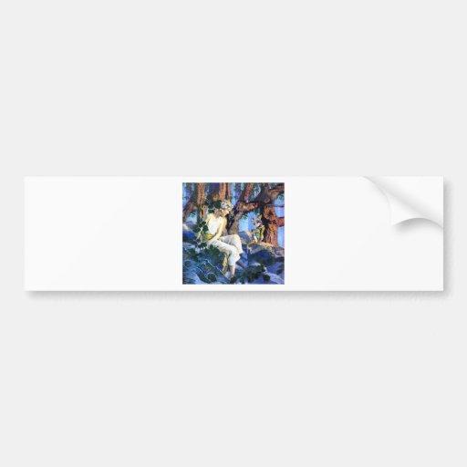 Maxfield Parrish's Fair Princess and the Gnomes Car Bumper Sticker