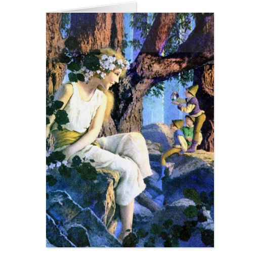 Maxfield Parrish's Fair Princess and the Gnomes Greeting Card