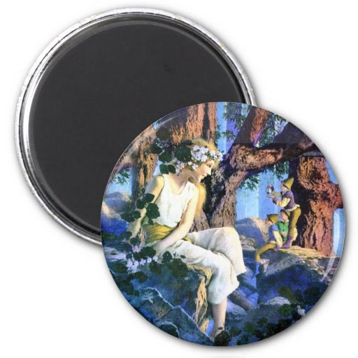 Maxfield Parrish's Fair Princess and the Gnomes Refrigerator Magnet