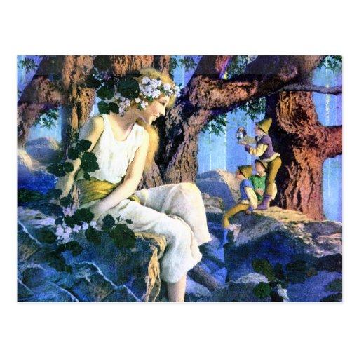 Maxfield Parrish's Fair Princess and the Gnomes Postcard