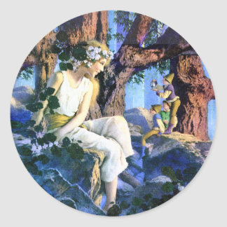 Maxfield Parrish's Fair Princess and the Gnomes Classic Round Sticker