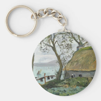 Maxime Maufra- A cottage with thatched roof Keychain