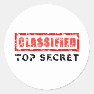 Máximo secreto clasificado pegatina redonda