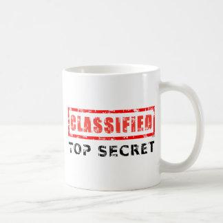 Máximo secreto clasificado taza básica blanca