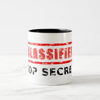 Máximo secreto clasificado taza de dos tonos
