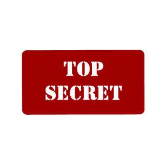 Máximo secreto rojo de la plantilla etiquetas de dirección