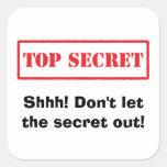 Máximo secreto. ¡Shhh! No deje a los pegatinas del Calcomanías Cuadradas