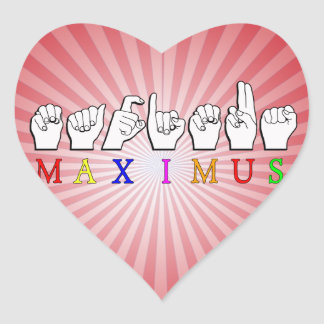 MAXIMUS FINGERSPELLED ASL NAME SIGN HEART STICKER