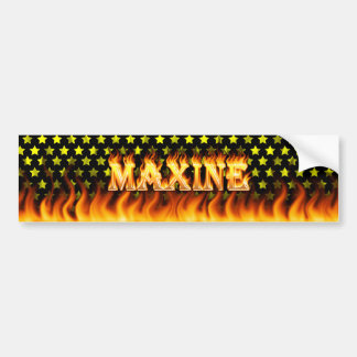 Maxine real fire and flames bumper sticker design.