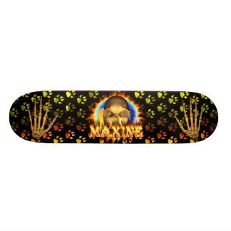 Maxine skull real fire and flames skateboard desig