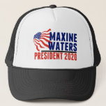"""Maxine Waters for President 2020 Trucker Hat<br><div class=""""desc"""">Maxine Waters for President in 2020. Vote for Congresswoman Maxine Waters in the next presidential election. She has served as U.S. Representative in California Congress for over 2 decades as a strong democrat woman. American flag image by Graphics Factory.</div>"""